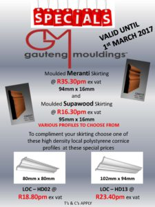 GAUTENG MOULDINGS SPECIALS